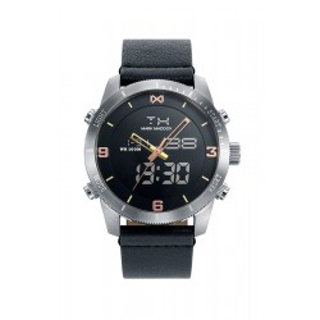 Relógio Mark Maddox Mission HC1001-96 para homem com pulseira de couro preto e mostrador preto, 5 ATM