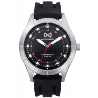 Relógio Mark Maddox Mission HC7126-56 para homem com pulseira de silicone preto e mostrador preto, 5 ATM