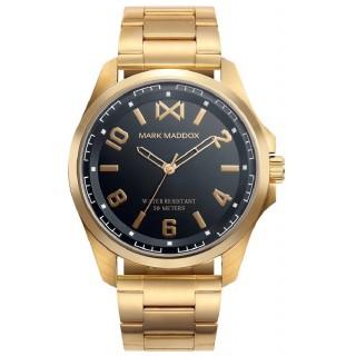 Relógio Mark Maddox Mission HM0108-55 para homem com pulseira de aço chapado e mostrador preto, 5 ATM