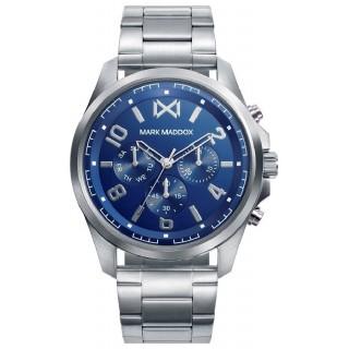 Relógio Mark Maddox Mission HM0109-35 multifuncional com pulseira de aço e mostrador azul
