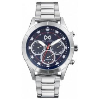 Relógio Mark Maddox Mission HM7132-36 multifuncional com pulseira de aço e mostrador azul, 5 ATM