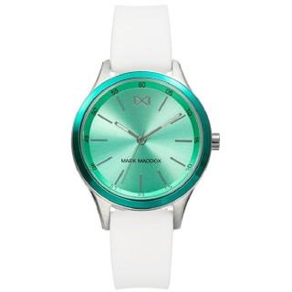 Reloj Mark Maddox Shibuya MC7107-67 para mujer con correa de silicona blanca y esfera verde, 5 ATM