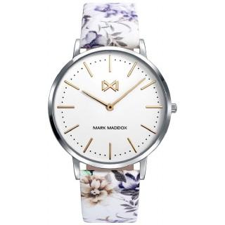 Relógio Mark Maddox Greenwich MC7110-97 para mulher com pulseira de couro com estampado de flores, 3 ATM