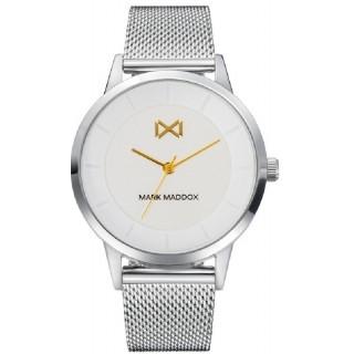 Relógio Mark Maddox Nothern MM7125-07 para mulher com pulseira milanesa e mostrador branco, 3 ATM