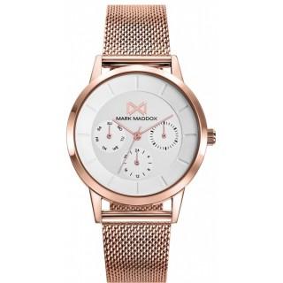 Relógio Mark Maddox Nothern MM7126-97 para mulher com pulseira milanesa rosa e mostrador branco, 5 ATM