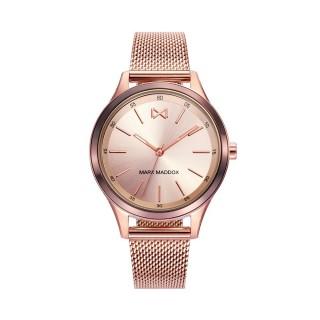 Relógio Mark Maddox Shibuya MM7110-97 para mulher com pulseira milanesa rosa e mostrador rosa, 5 ATM