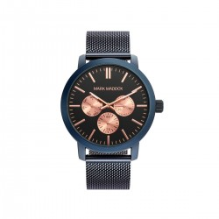 Relógio Mark Maddox HC3025-99 multifuncional para homem com pulseira milanesa azul e mostrador preto/rosa, 3 ATM