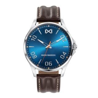 Relógio Mark Maddox Peckham HC7110-35 para homem com pulseira de couro marrom e mostrador azul, 5 ATM