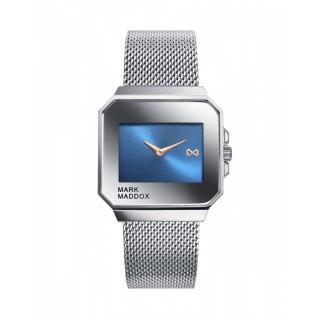 Relógio Mark Maddox Mahü HM7112-30 unisex com pulseira milanesa e mostrador quadrado azul, 3 ATM