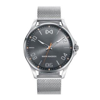 Relógio Mark Maddox Peckham HM7114-15 para homem com pulseira milanesa preta e mostrador cinza, 5 ATM