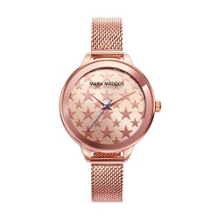 Relógio Mark Maddox MC6008-98 para mulher com pulseira milanesa rosa e mostrador rosa com estrelas, 30 ATM