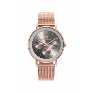 Relógio Mark Maddox Notting MM0106-17 multifuncional para mulher com pulseira milanesa e mostrador cinza, 5 ATM
