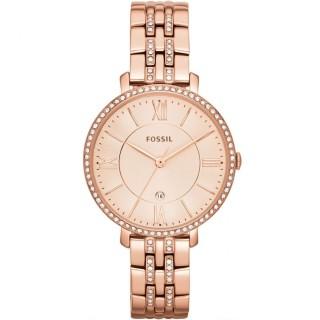 Relógio Fossil Jacqueline ES3546 para mulher com pulseira de aço rosa e mostrador rosa com zircônias, 3 ATM