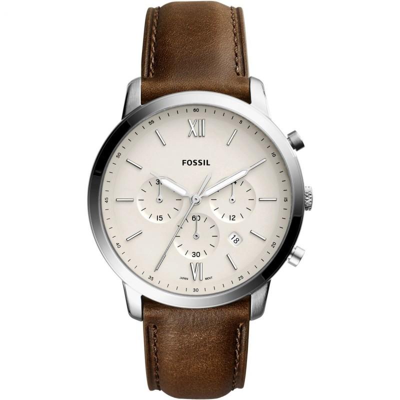 Reloj Fossil Neutra FS5380 para hombre con correa de piel marrón y esfera beige, 5 ATM