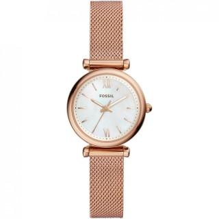 Reloj Fossil Carlie ES4433 para mujer con correa milanesa rosa y esfera nácar, 5 ATM