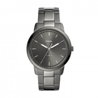 Reloj Fossil The Minimalist FS5459 para hombre con correa de acero gris y esfera gris, 5 ATM