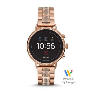 Reloj Fossil Venture Connect FTW6011 para mujer con correa de acero rosa con circonitas, 3 ATM