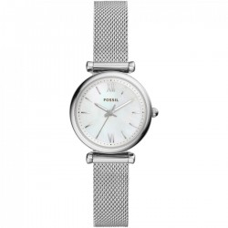 Relógio Fossil Carlie Mini ES4432 para mulher com pulseira de aço e mostrador cinza, 5 ATM
