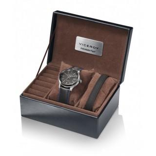 Conjunto Reloj Viceroy 471097-99 con correa de piel y esfera negra, + pulsera de cuero, 10 ATM