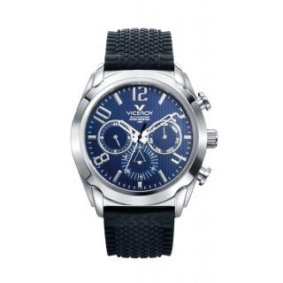 Relógio Viceroy 40347-35 multifuncional para homem com pulseira de couro preto e mostrador azul, 10 ATM