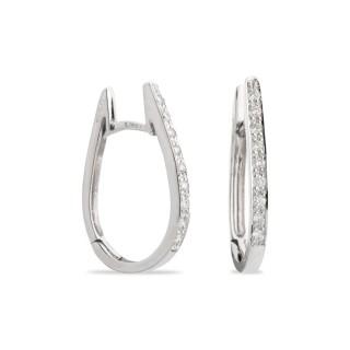 Pendientes de oro blanco ovalados con diamante de 0,18 CTS