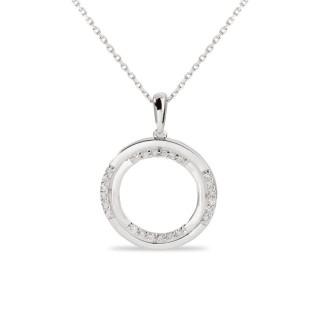Collar de oro blanco con detalle en forma de círculo con diamante, 42 + 3 cm
