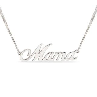 """Colar de prata rodinada com detalhe em forma da palavra mamá"""""""