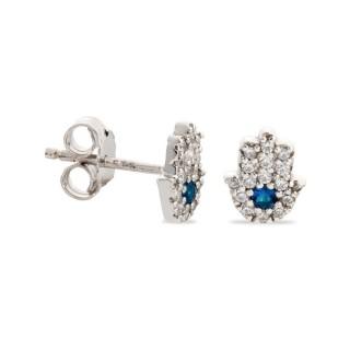 Brincos de prata em forma de mão de fátima com zircônia azul