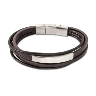 Pulseira para homem de aço com múltiplas tiras de couro marrom e placa, 20 + 1,5 cm