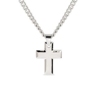 Colar para homem de aço com detalhe em forma de cruz, 50 cm