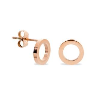 Pendientes de acero rosa en forma de círculo