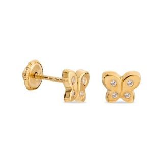 Pendientes de oro y circonita en forma de mariposa