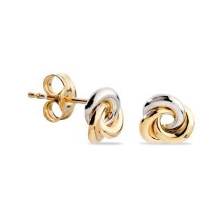 Pendientes de oro bicolor en forma de nudo