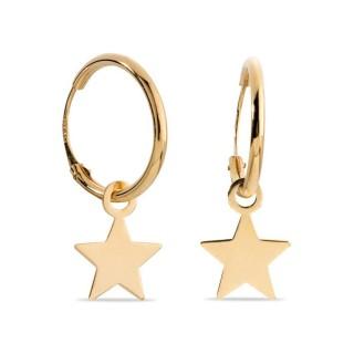 Pendientes de oro en forma de aro con estrella