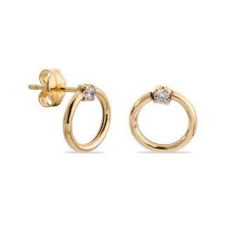Pendientes de oro y circonita en forma de círculo 8 mm
