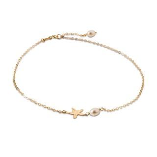 Tobillera de oro en forma de estrellas con perlas 24 + 2 cm