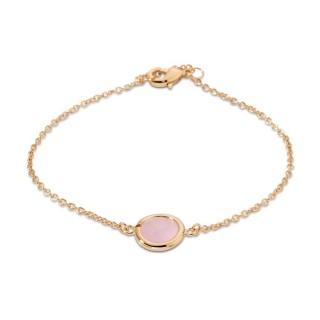 Pulsera bañada a oro y piedra rosa 16 + 2 cm