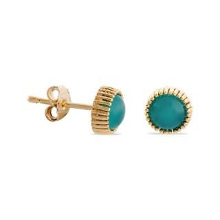 Brincos banhados a ouro e pedra azul em formato de botão