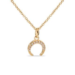 Colar banhado a ouro e zircônia em formato de lua crescente 40 + 2 + 2 cm