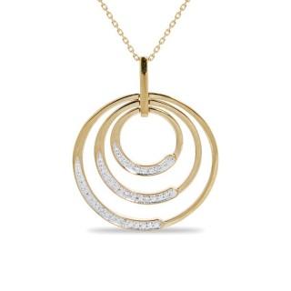 Collar de oro amarillo con detalle de 3 círculos con diamante, 42 + 3 cm
