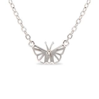 Collar de plata con detalle en forma de mariposa, 38 + 3 cm