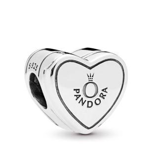 """Charm Pandora 798072CZ clip de prata em forma de coração com a palavra """"yes"""""""