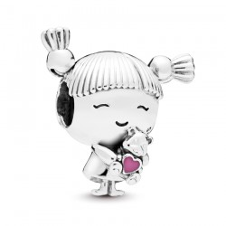 Charm Pandora 798016EN160 de prata em forma de menina e urso