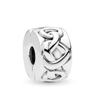 Charm Pandora 798035 clip de plata en forma de corazones anudados