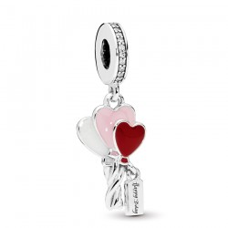Charm Pandora 798076CZ de prata pendente em forma de balões e corações