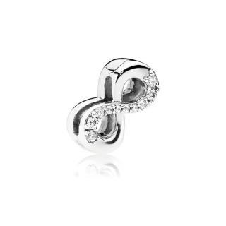 Charm Pandora Reflexions 797580CZ clip de prata em forma de infinito com zircônia