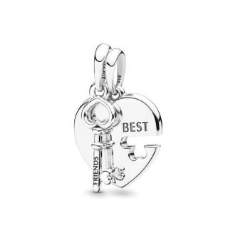 Charm Pandora 398130 Best Friends de prata em forma de coração e chaves