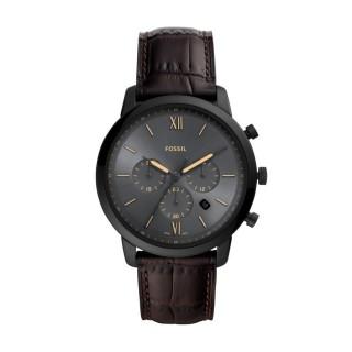 Relógio Fossil Neutra FS5579 para homem com pulseira de couro marrom e mostrador preto, 5 ATM
