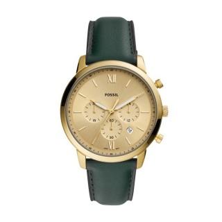 Reloj Fossil Neutra FS5580 para hombre con correa de cuero verde y esfera dorada, 5 ATM