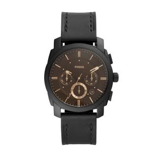 Relógio Fossil Machine FS5586 para homem com pulseira de couro preto e mostrador preto, 5 ATM